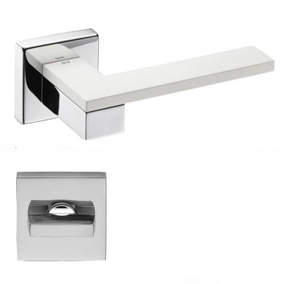 Дверная ручка на розетке DND by Martinelli ESA хром-белый (с накладкой WC) ES14T-CBI