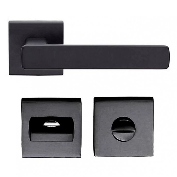Дверная ручка на розетке DND by Martinelli FOLD 02 чёрный (с накладкой WC) F014T-ZNE