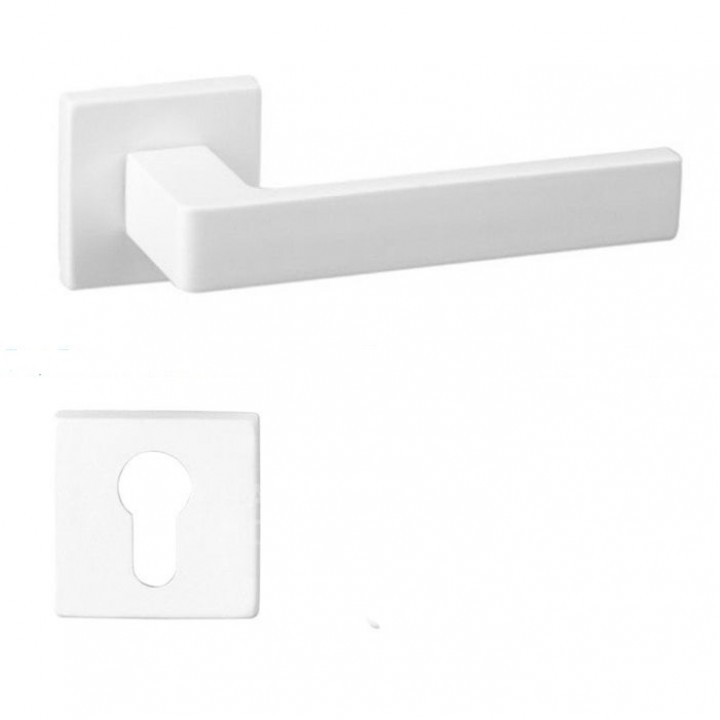 Дверная ручка на розетке DND by Martinelli QUATTRO 02-Z белый (с накладкой под цилиндр)264/14-ZY-ZBN