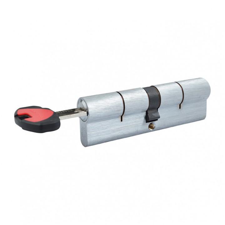 Цилиндр Securemme К2 ключ/шток 80мм 30/50 мм 5кл +1 монтажный ключ матовый хром 49873